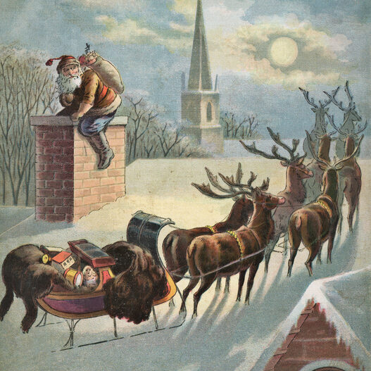 Vintage illustration of Santa Claus going down the chimney at a house on Christmas. Vintage etching on linen circa late 19th century.